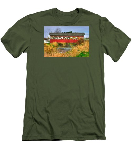 Pennsylvania Country Roads - Oregon Dairy Covered Bridge Over Shirks Run - Lancaster County Men's T-Shirt (Slim Fit) by Michael Mazaika