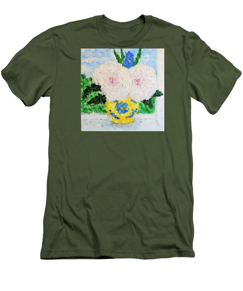 Peonies And Iris On The Window. Men's T-Shirt (Slim Fit) by Tamara Savchenko