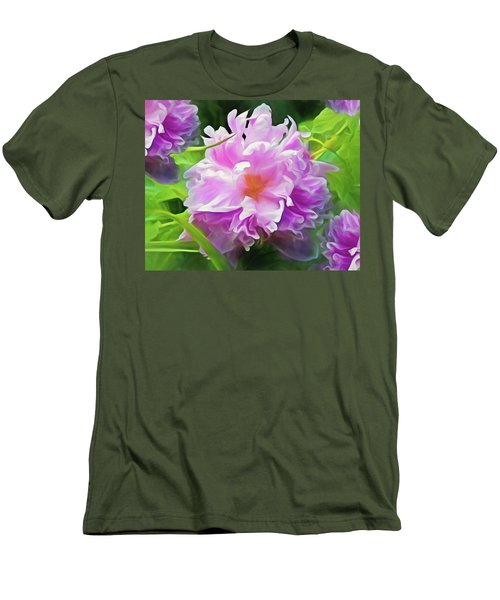 Men's T-Shirt (Athletic Fit) featuring the mixed media Peony Cluster 7 by Lynda Lehmann