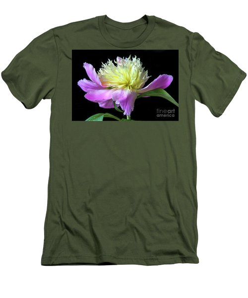 Peony On Black Men's T-Shirt (Athletic Fit)