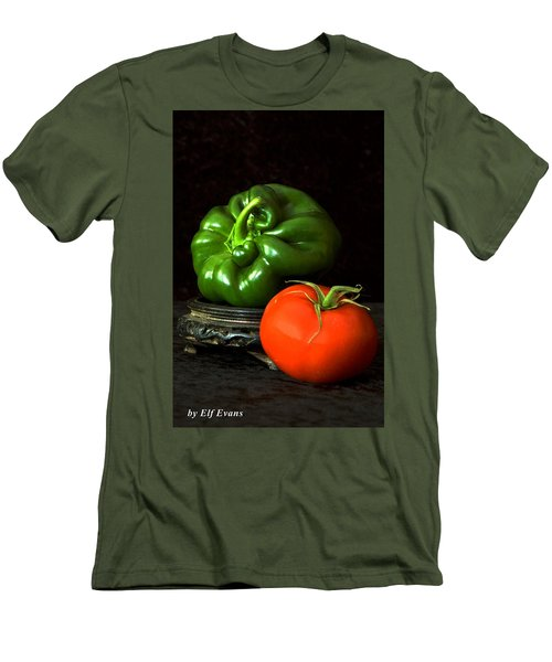 Men's T-Shirt (Athletic Fit) featuring the photograph Pepper And Tomato by Elf Evans