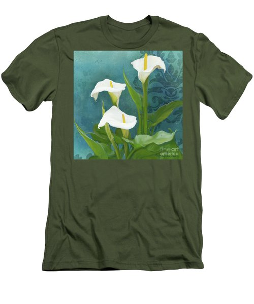 Men's T-Shirt (Athletic Fit) featuring the painting Perfection - Calla Lily Trio by Audrey Jeanne Roberts