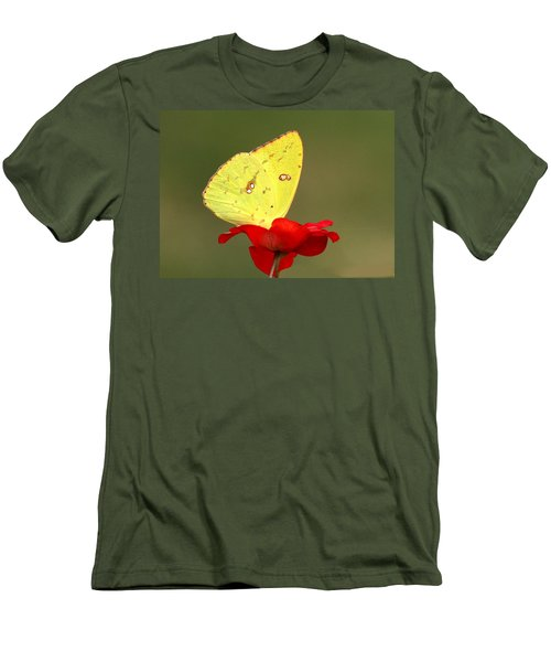 Men's T-Shirt (Slim Fit) featuring the photograph Petals And Wings by Sheila Brown
