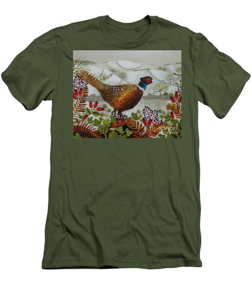Pheasant And Snowy Hillside Men's T-Shirt (Athletic Fit)