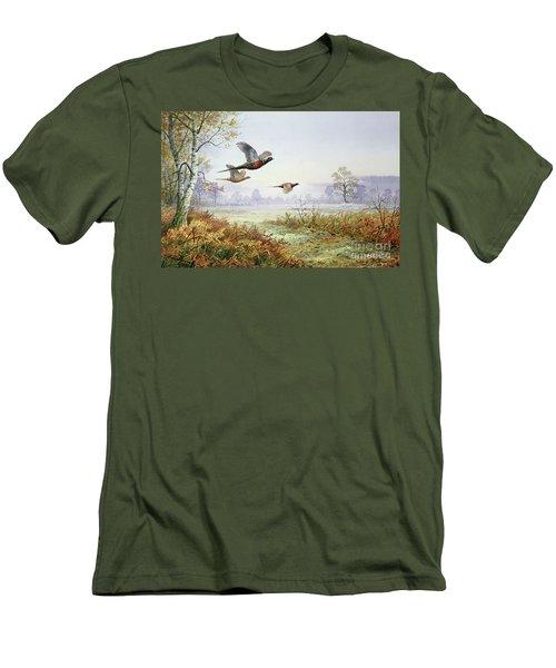 Pheasants In Flight  Men's T-Shirt (Slim Fit) by Carl Donner