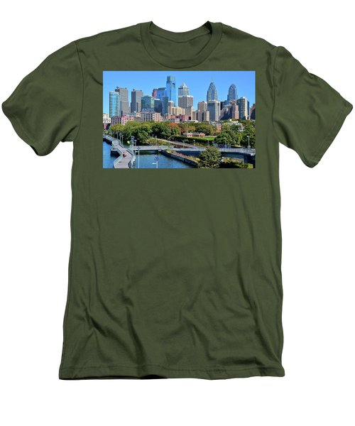 Men's T-Shirt (Slim Fit) featuring the photograph Philly With Walking Trail by Frozen in Time Fine Art Photography
