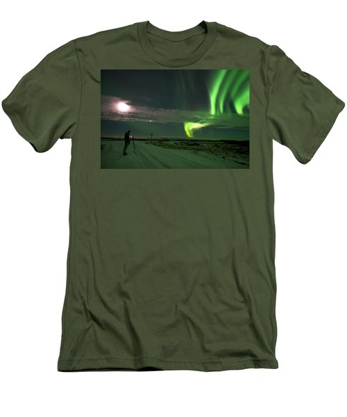Men's T-Shirt (Athletic Fit) featuring the photograph Photographer Under The Northern Light by Dubi Roman