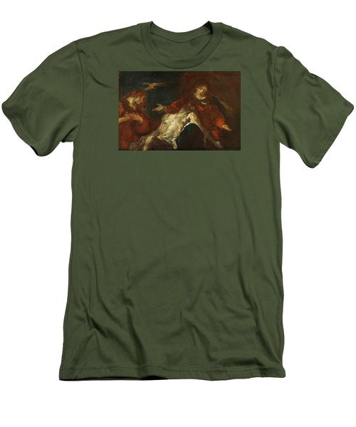 Men's T-Shirt (Slim Fit) featuring the painting Pieta With Mary Magdalene by Giuseppe Bazzani