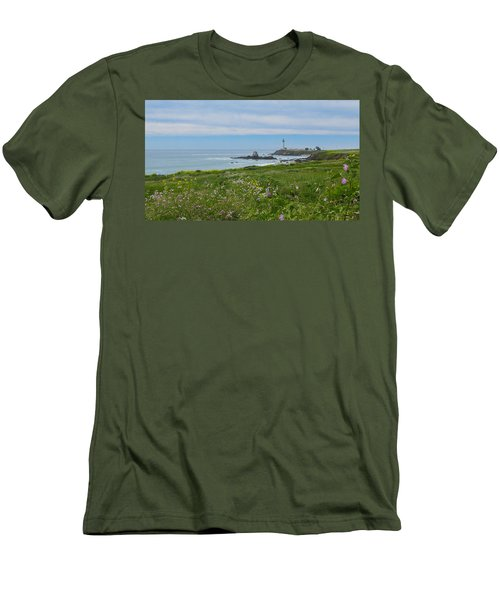 Pigeon Point Lighthouse Men's T-Shirt (Slim Fit) by Mark Barclay
