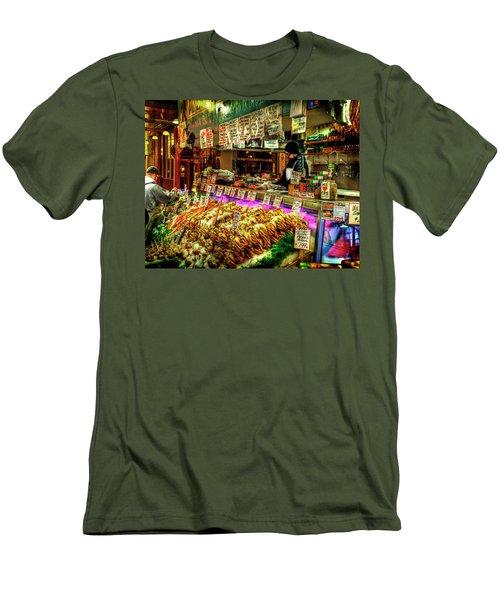 Pike Market Fresh Fish Men's T-Shirt (Slim Fit) by Greg Sigrist
