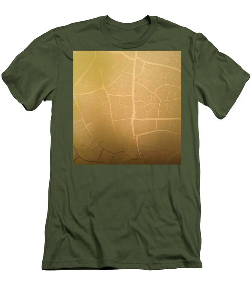 Pillow Pattern Amber Leaf/crackle Men's T-Shirt (Slim Fit) by Steed Edwards