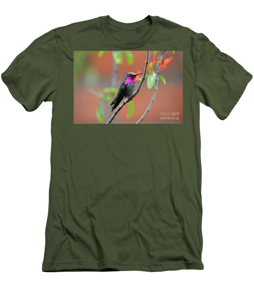 Pink And Gold Anna's Hummingbird Men's T-Shirt (Athletic Fit)