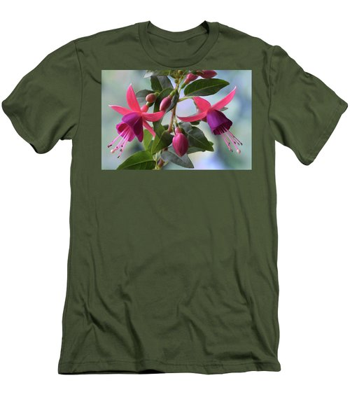 Men's T-Shirt (Slim Fit) featuring the photograph Pink And Purple Fuchsia by Terence Davis