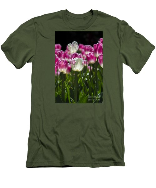 Men's T-Shirt (Athletic Fit) featuring the photograph Pink And White Tulips by Angela DeFrias