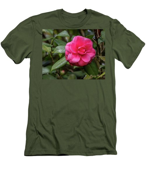 Men's T-Shirt (Slim Fit) featuring the photograph Pink Camelia 02 by Gregory Daley  PPSA