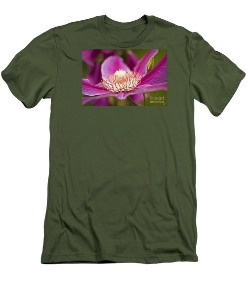 Men's T-Shirt (Slim Fit) featuring the photograph Pink Clematis Flower by Alana Ranney