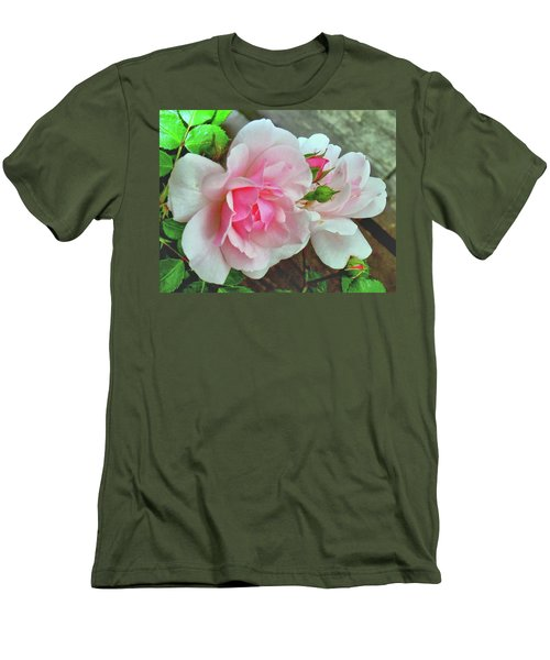 Men's T-Shirt (Slim Fit) featuring the photograph Pink Cluster Of Roses by Janette Boyd