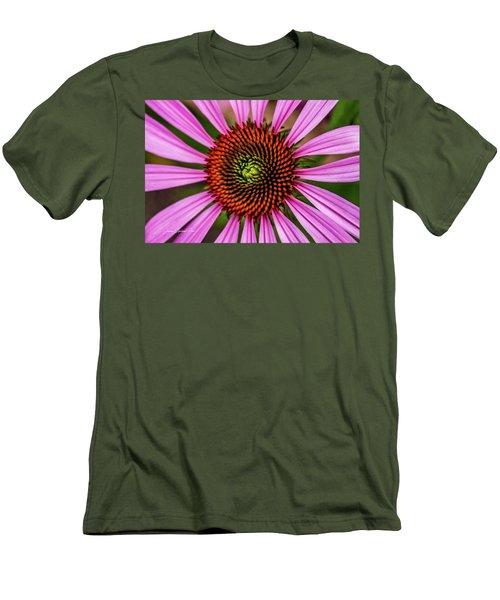 Men's T-Shirt (Slim Fit) featuring the photograph Pink Cornflower by Joann Copeland-Paul