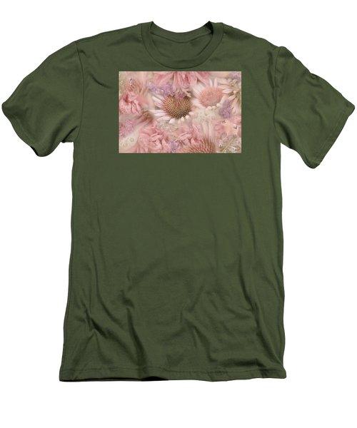 Pink Floral Montage Men's T-Shirt (Slim Fit) by Bonnie Bruno