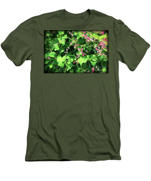 Men's T-Shirt (Athletic Fit) featuring the photograph Pink Flowering Vine2 by Megan Dirsa-DuBois
