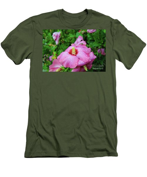 Pink Hibiscus After Rain Men's T-Shirt (Slim Fit) by Inspirational Photo Creations Audrey Woods