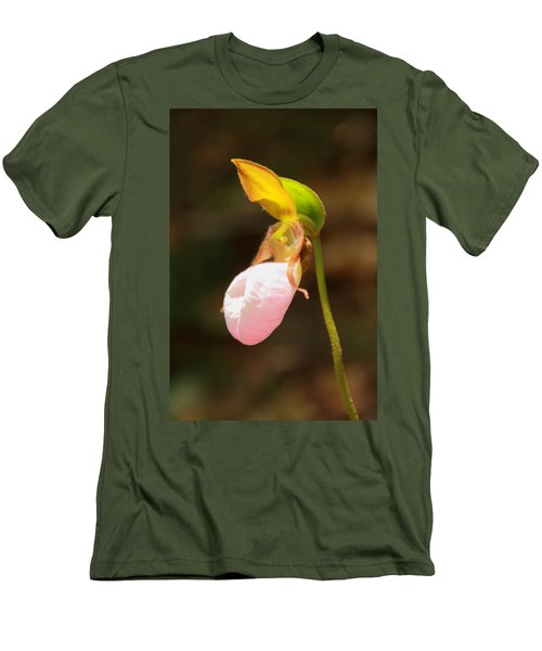 Men's T-Shirt (Slim Fit) featuring the photograph Pink Lady Slipper by Roupen  Baker