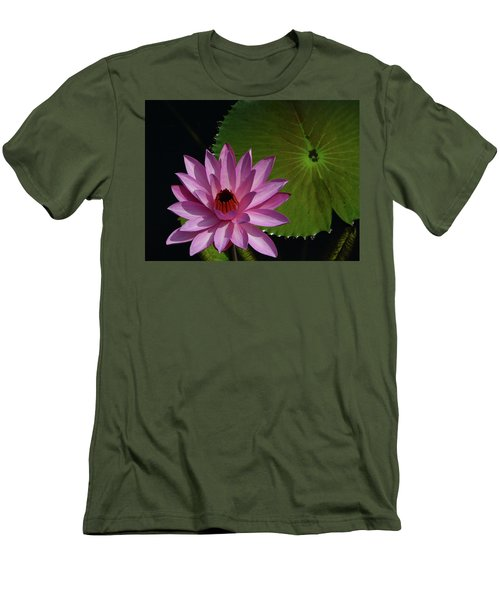 Pink Lotus Men's T-Shirt (Slim Fit) by Evelyn Tambour