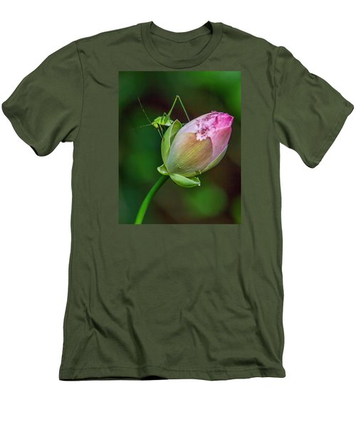 Men's T-Shirt (Slim Fit) featuring the photograph Pink  Lotus With Company by Susi Stroud