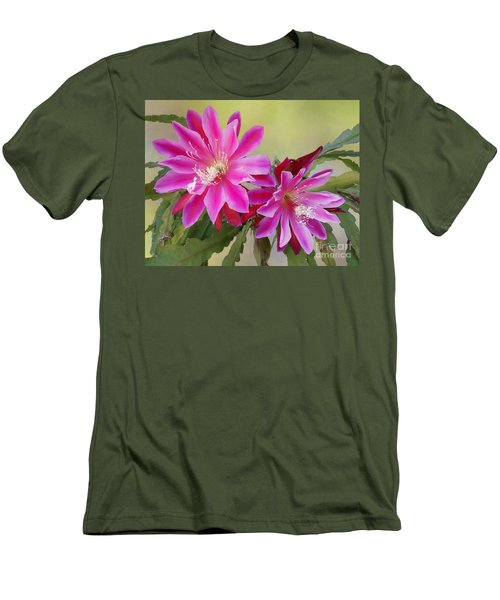 Pink Epiphyllum Lily Men's T-Shirt (Slim Fit) by Myrna Bradshaw
