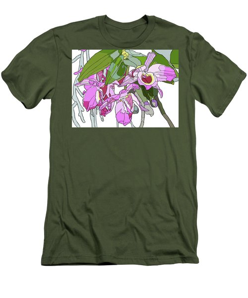 Pink Orchid Bunch Men's T-Shirt (Slim Fit) by Jamie Downs