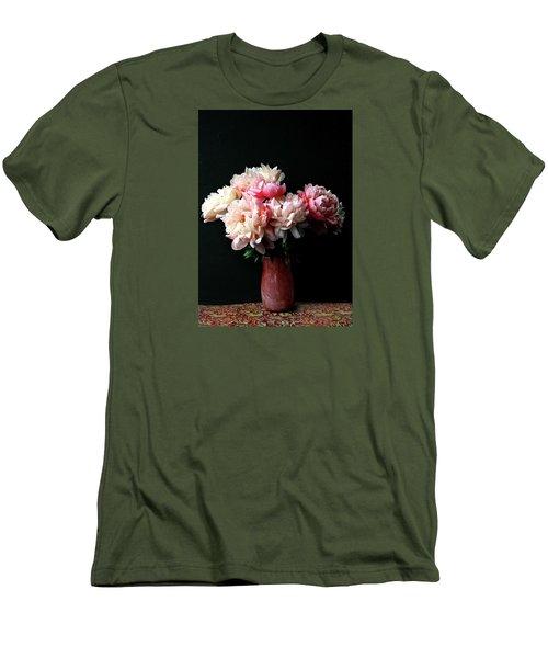 Pink Peonies In Pink Vase Men's T-Shirt (Athletic Fit)