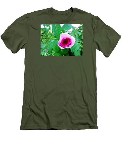 Men's T-Shirt (Slim Fit) featuring the photograph Pink Rose by Sadie Reneau