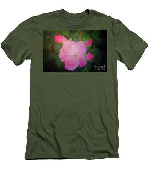 Pink Roses  Men's T-Shirt (Slim Fit) by Inspirational Photo Creations Audrey Woods
