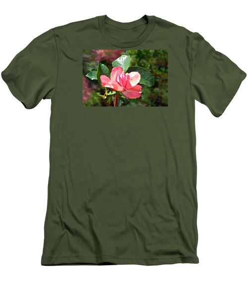 Pink Roses In The Rain 2 Men's T-Shirt (Slim Fit) by Janis Nussbaum Senungetuk