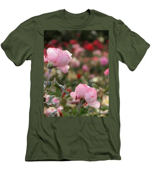 Men's T-Shirt (Slim Fit) featuring the photograph Pink Roses by Laurel Powell
