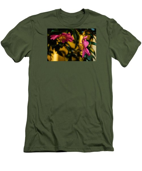 Men's T-Shirt (Slim Fit) featuring the photograph Pink Sasanquas  by John Harding