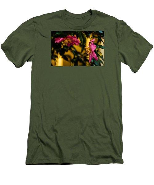 Pink Sasanquas  Men's T-Shirt (Slim Fit) by John Harding