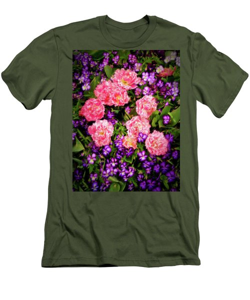 Pink Tulips With Purple Flowers Men's T-Shirt (Slim Fit) by James Steele