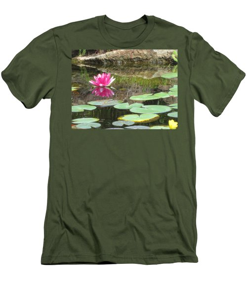 Men's T-Shirt (Slim Fit) featuring the photograph Pink Waterlilly  by Laurianna Taylor