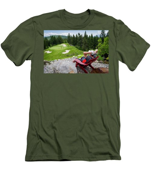Men's T-Shirt (Slim Fit) featuring the photograph Play Through Or Enjoy The View by Darcy Michaelchuk