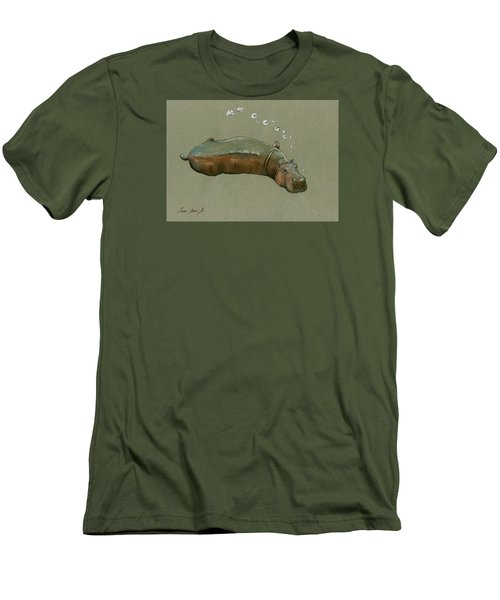 Playing Hippo Men's T-Shirt (Slim Fit) by Juan  Bosco