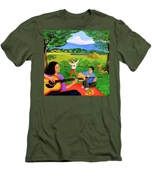 Men's T-Shirt (Slim Fit) featuring the painting Playing Melodies Under The Shade Of Trees by Lorna Maza