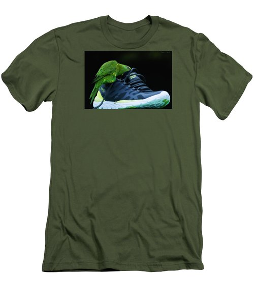 Men's T-Shirt (Slim Fit) featuring the photograph Playing With Dads Shoe 01 by Kevin Chippindall