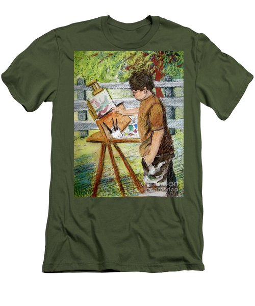 Plein-air Painter Boy Men's T-Shirt (Slim Fit) by Gretchen Allen