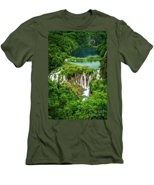 Plitvice Lakes National Park - A Heavenly Crystal Clear Waterfall Vista, Croatia Men's T-Shirt (Athletic Fit)