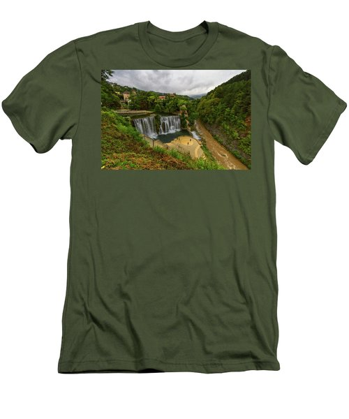 Pliva Waterfall, Jajce, Bosnia And Herzegovina Men's T-Shirt (Athletic Fit)