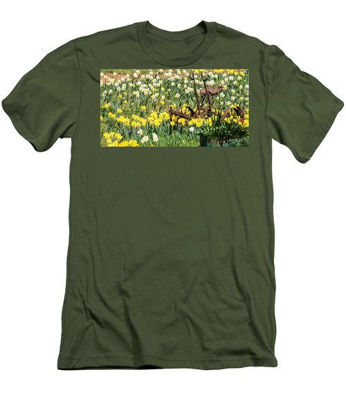 Plow In Field Of Daffodils Men's T-Shirt (Athletic Fit)
