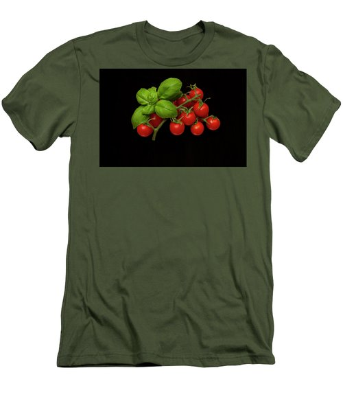 Men's T-Shirt (Slim Fit) featuring the photograph Plum Cherry Tomatoes Basil by David French