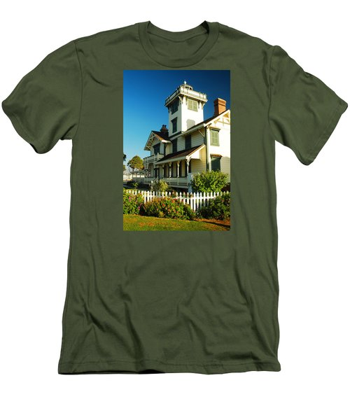 Point Fermin Lighthouse Men's T-Shirt (Slim Fit) by James Kirkikis