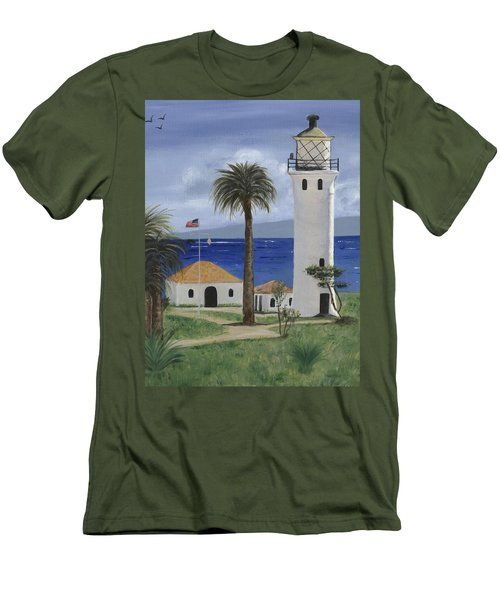 Point Vicente Lighthouse Men's T-Shirt (Slim Fit) by Jamie Frier